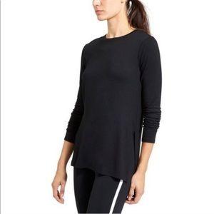 Athleta Black Modal Side Slit Tunic Long Sleeve